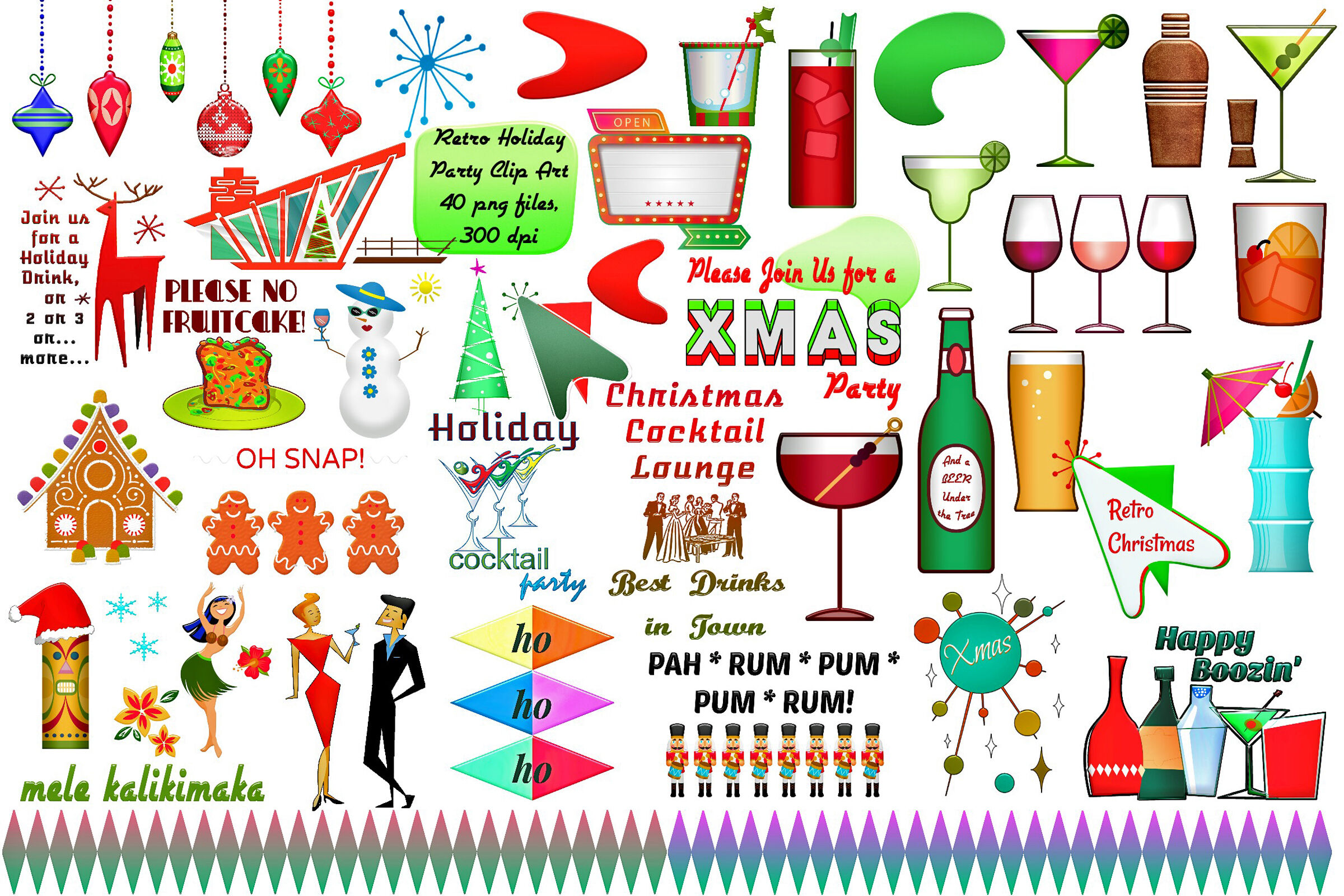 Christmas Holiday Party.Christmas Retro Holiday Party Clip Art By Me And Amelie