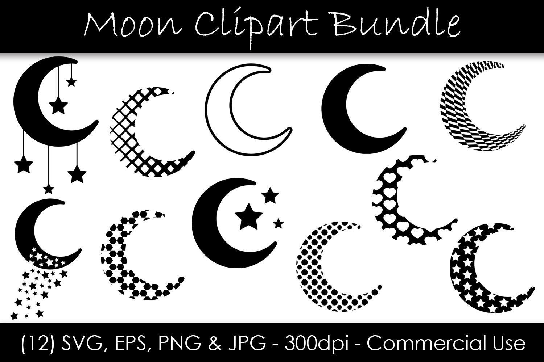 Moon Svg Bundle Moon Shape Clip Art Moon Silhouettes By Gjsart
