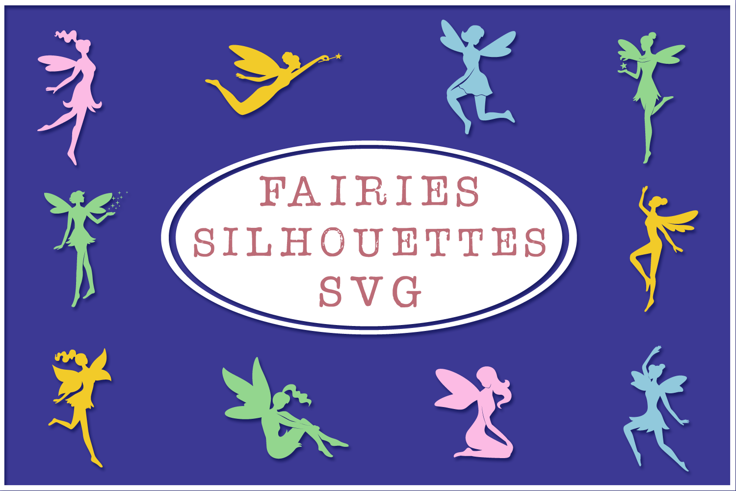 Fairy Silhouettes Svg Cut Files Pack 2 By Anastasia Feya Fonts