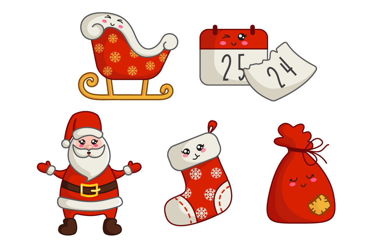 Cute Vector Christmas Santa Claus By Watercolor Arts