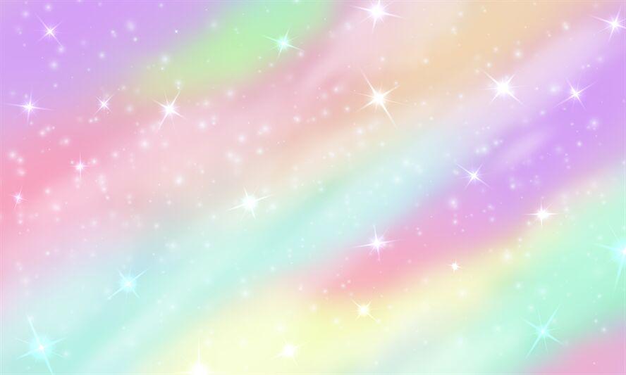Rainbow Unicorn Background Mermaid Glittering Galaxy In Pastel