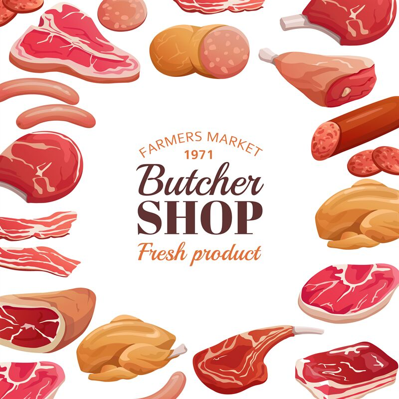 Butchery Poster Fresh Meat Raw Beef Steak And Pork Ham Meat