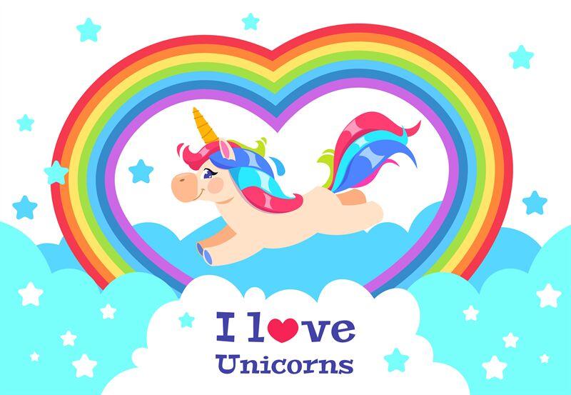 Cute Rainbow Unicorn Cartoon Funny Baby Rainbow Pony Girl