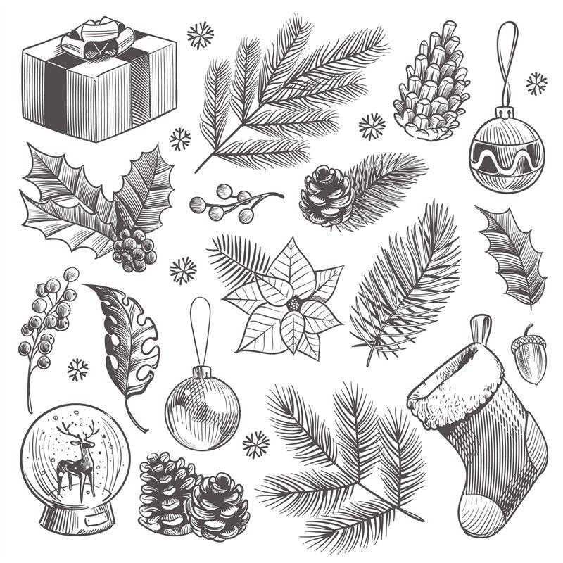 Sketch Decoration Xmas Set Christmas Hand Drawn Vintage Present