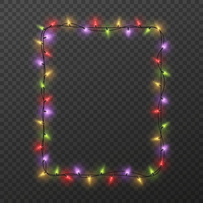 Frame With Light Garland Christmas Square Border With Color