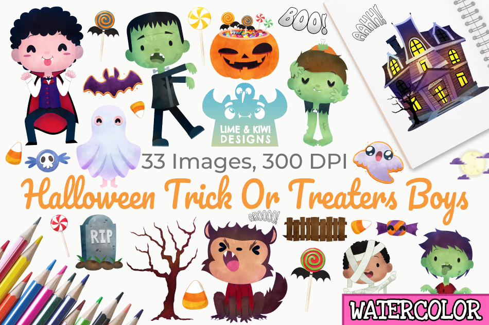 Happy Children In Halloween Party Trick Or Treating Stock Vector -  Illustration of border, characters: 76617945