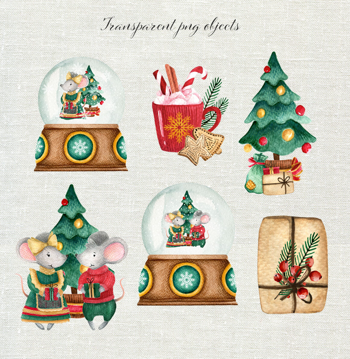Christmas Watercolor Set Cute Mice By Juliabadeeva