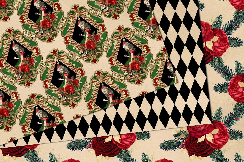 Christmas Alice In Wonderland Digital Paper By Digital Curio
