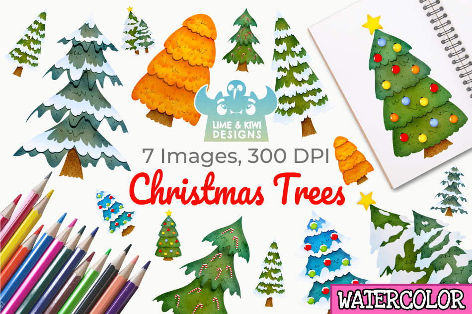 Christmas Trees Watercolor Clipart Instant Download By Lime And