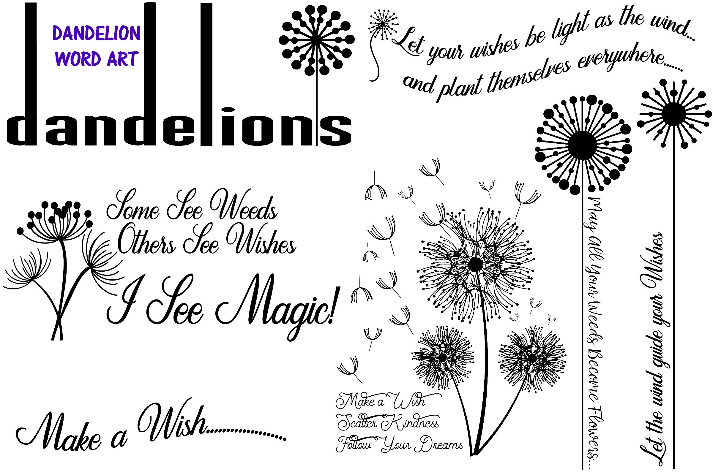 Dandelions Overlays And Word Art Ai Eps Png By Me And Amelie