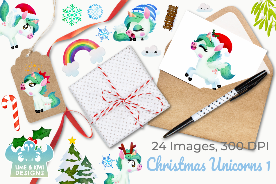 Christmas Unicorns 3 Watercolor Clipart Instant Download By Lime