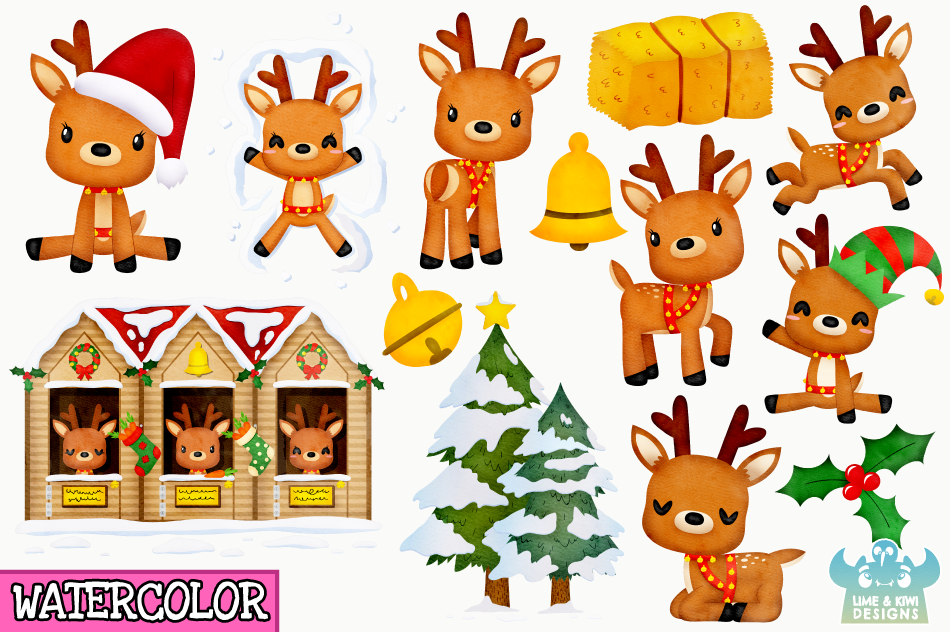 Christmas Reindeer Watercolor Clipart Instant Download By Lime