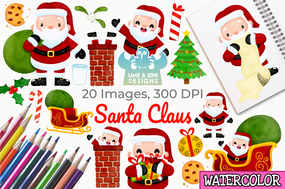 Santa Claus Watercolor Clipart Instant Download Vector Art By