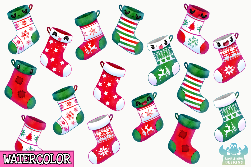 Christmas Stockings Watercolor Clipart Instant Download By Lime