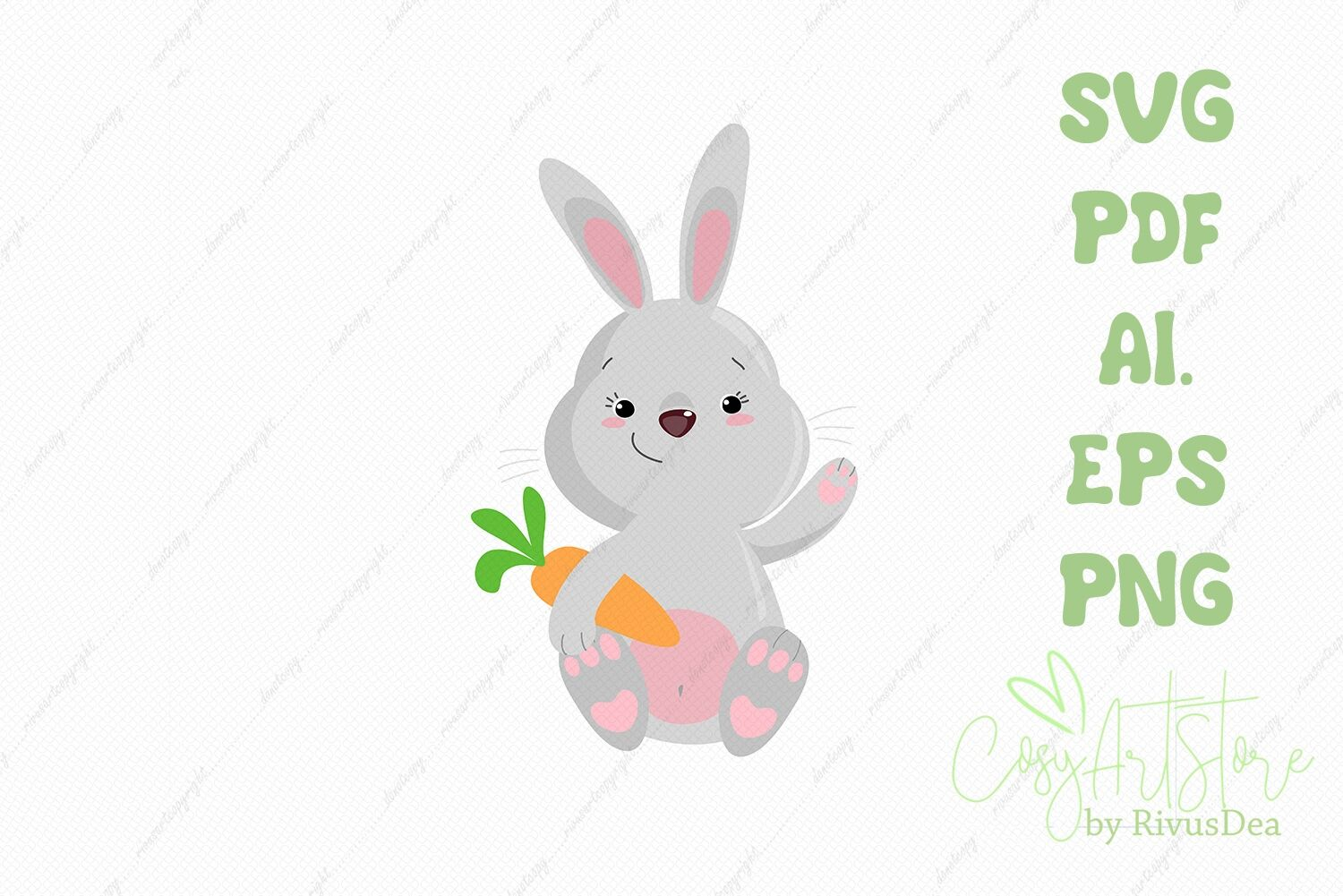 Bunny Svg Download Rabbit Holding Carrot Png Hare Cute Baby