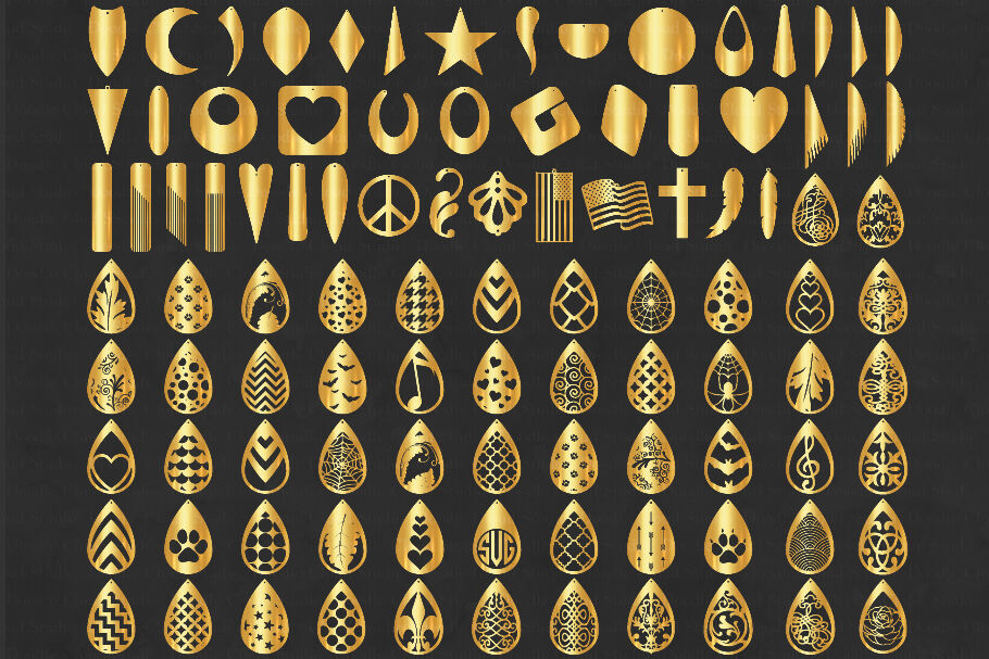 100 Earrings Svg Earring Mega Bundle Svg By Doodle Cloud Studio