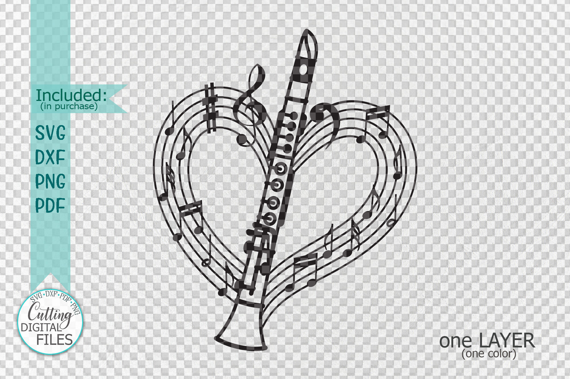 Clarinet Musical Heart Shape Svg Laser Cut Out Template By