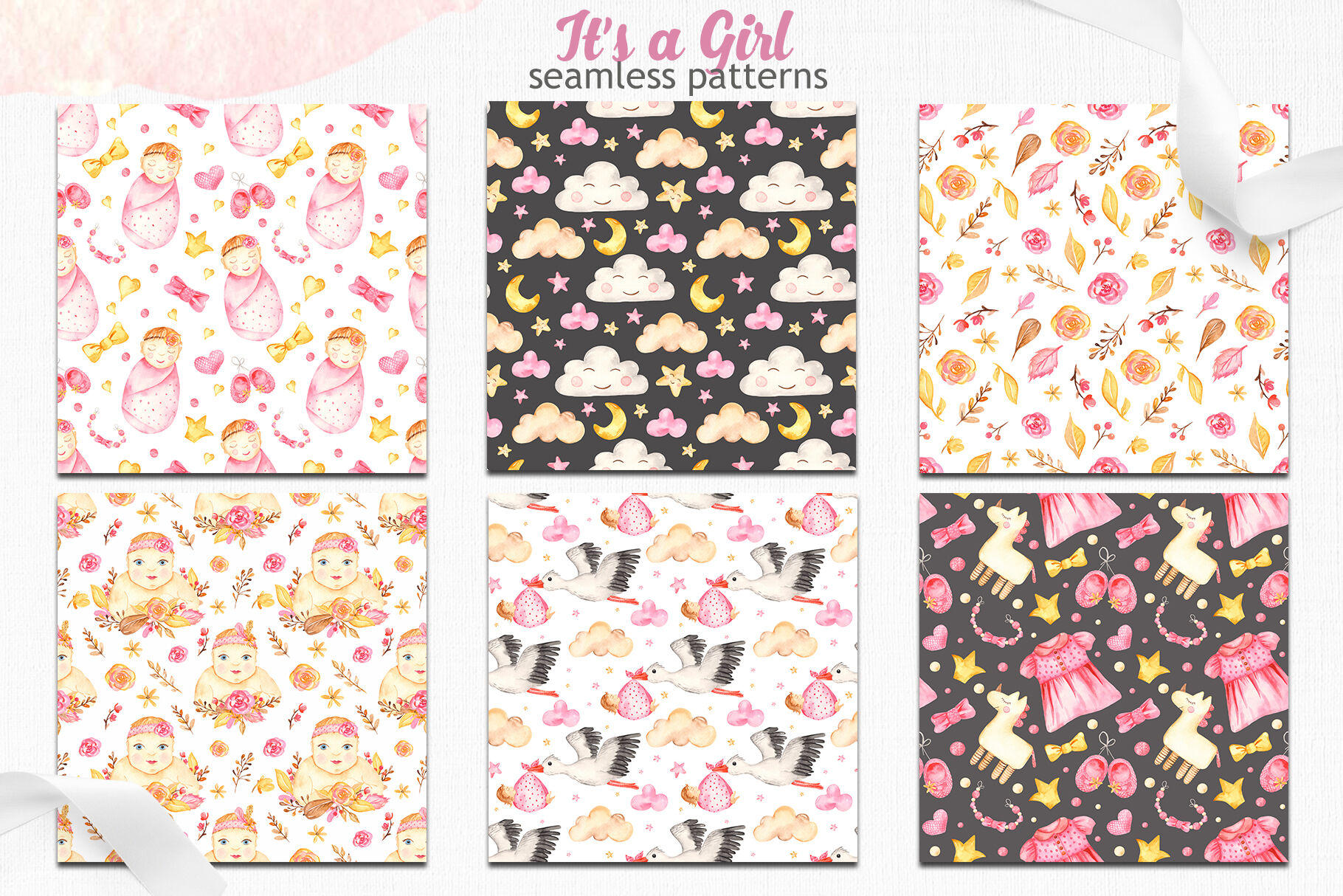 It S A Girl Watercolor Collection Clipart Premade Cards And