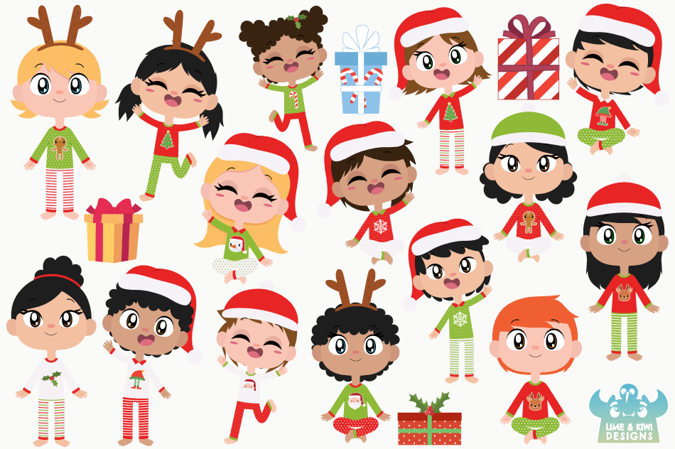 Kids Christmas Pajamas Clipart Instant Download Vector Art By