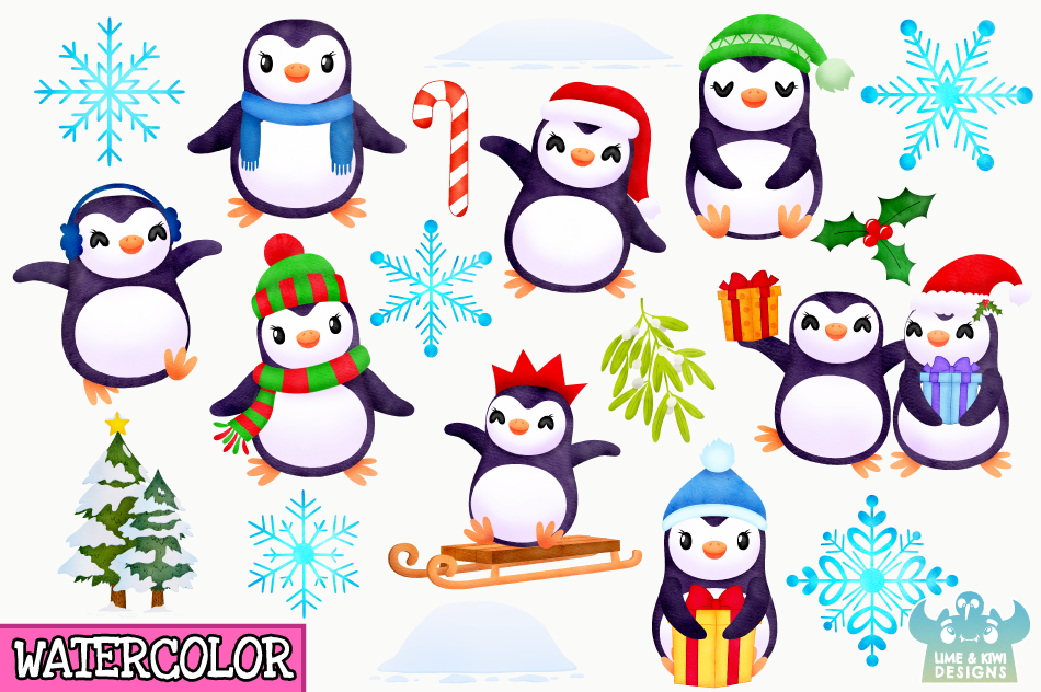 Christmas Penguins Watercolor Clipart Instant Download By Lime