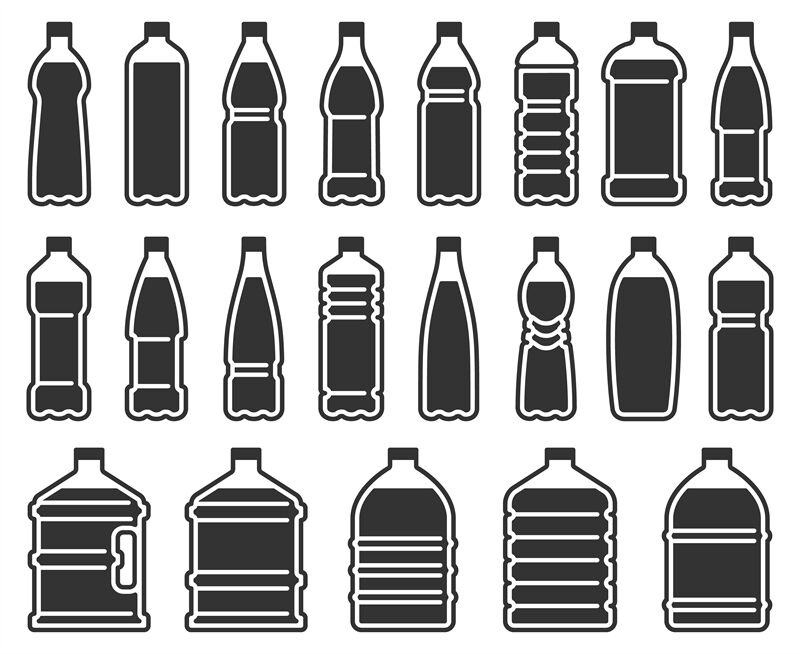 Plastic Bottles Silhouette Icon Mineral Water Drink Bottle