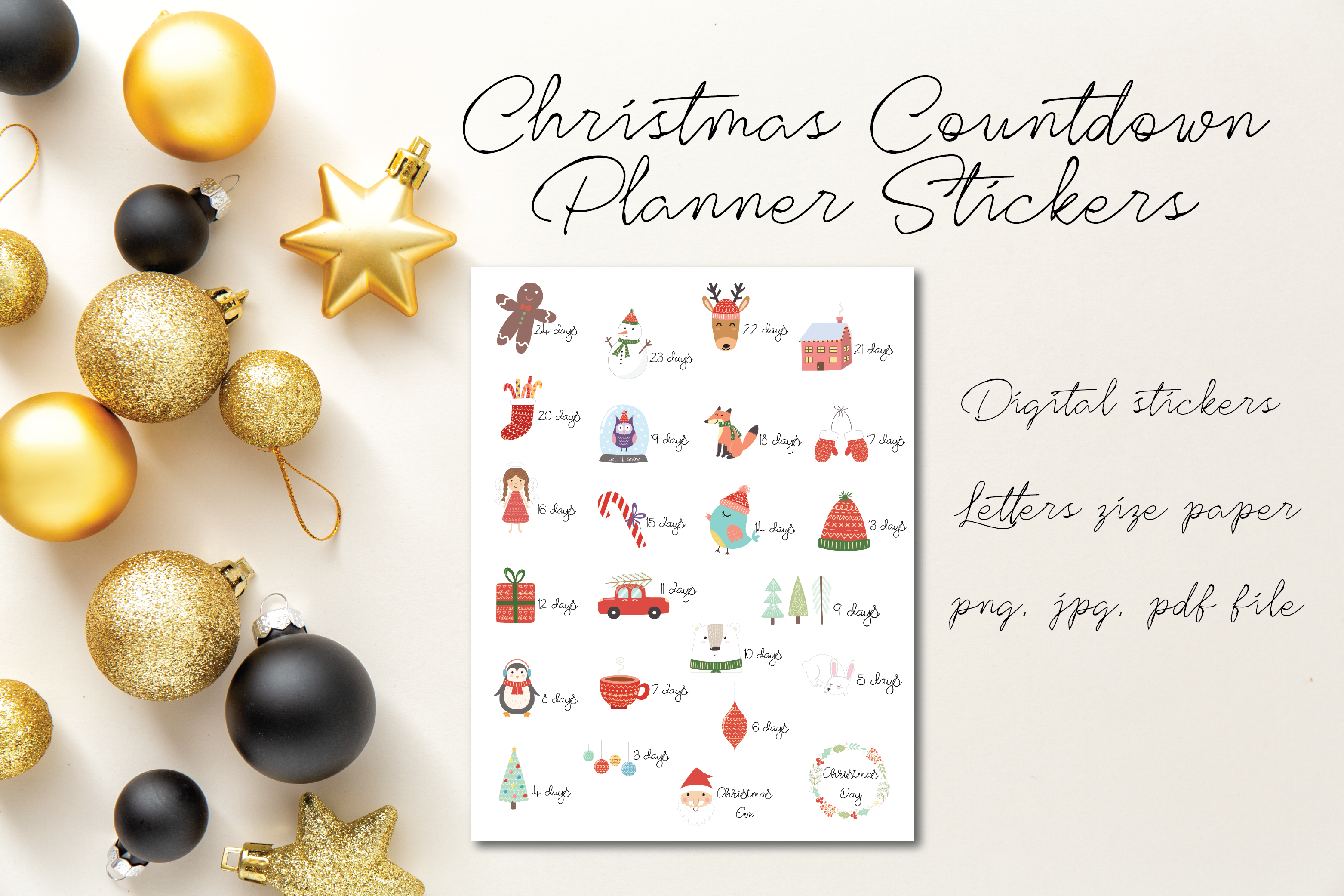 24 Christmas Countdown Stickers Cute Animal Printable Stickers By