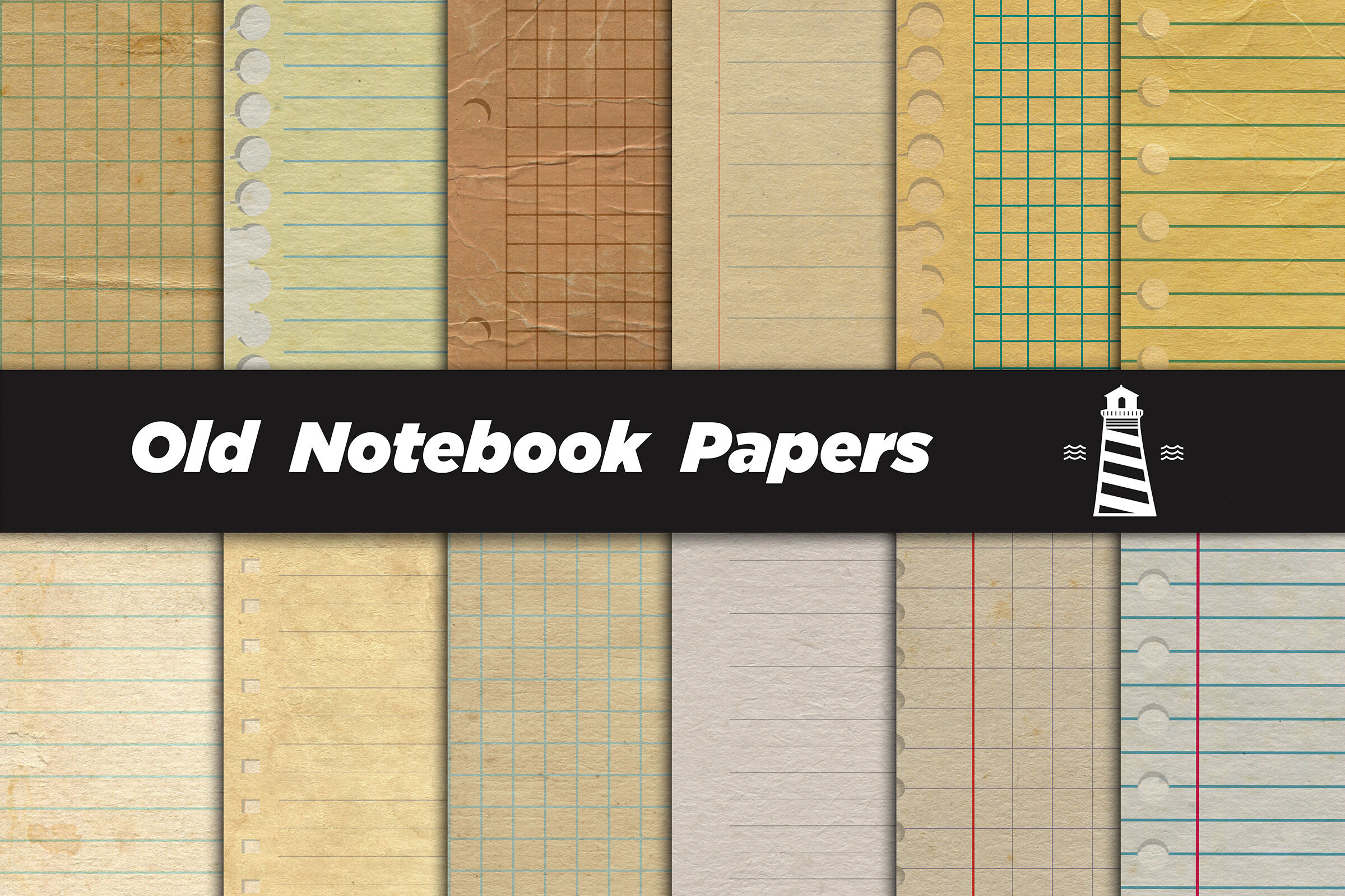 Vintage Notebook Digital Paper By North Sea Studio Thehungryjpeg Com