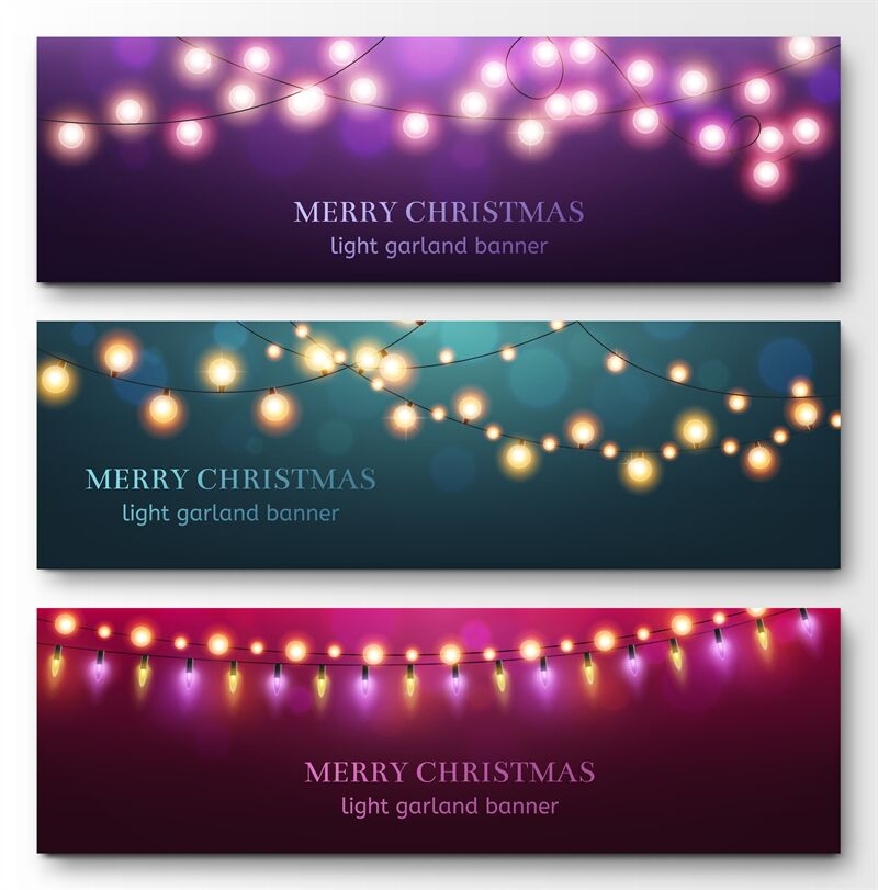 Light Garland Banners Glowing Light Bulbs On Strings Festive