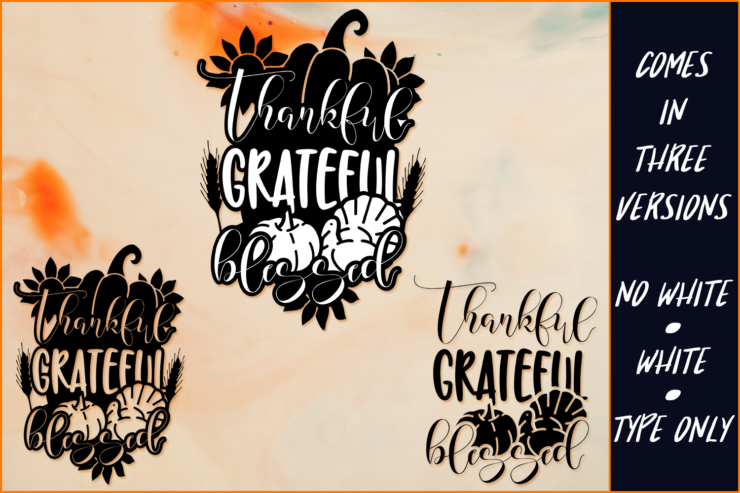 Thankful Grateful Blessed Thanksgiving Svg Cut File By Craft N Cuts Thehungryjpeg Com