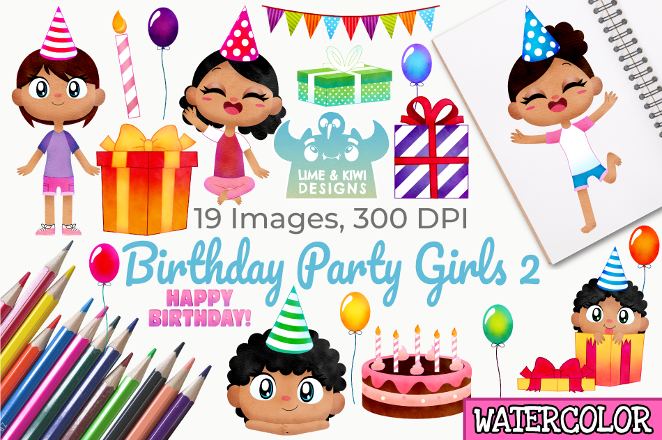 Birthday Party Girls 2 Watercolor Clipart Instant Download By