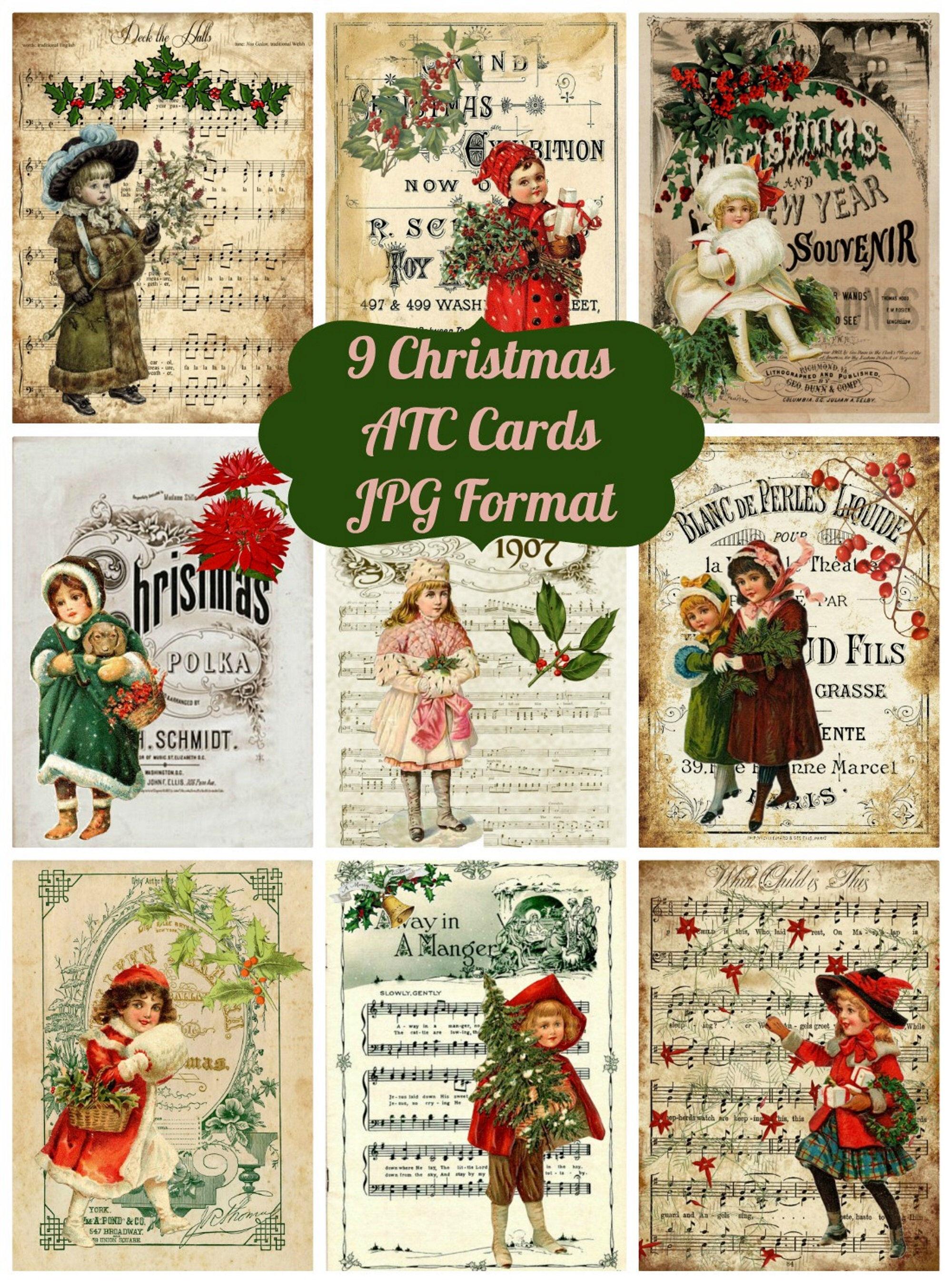9 Vintage Christmas Ephemera Atc Cards And Collage Sheet Art