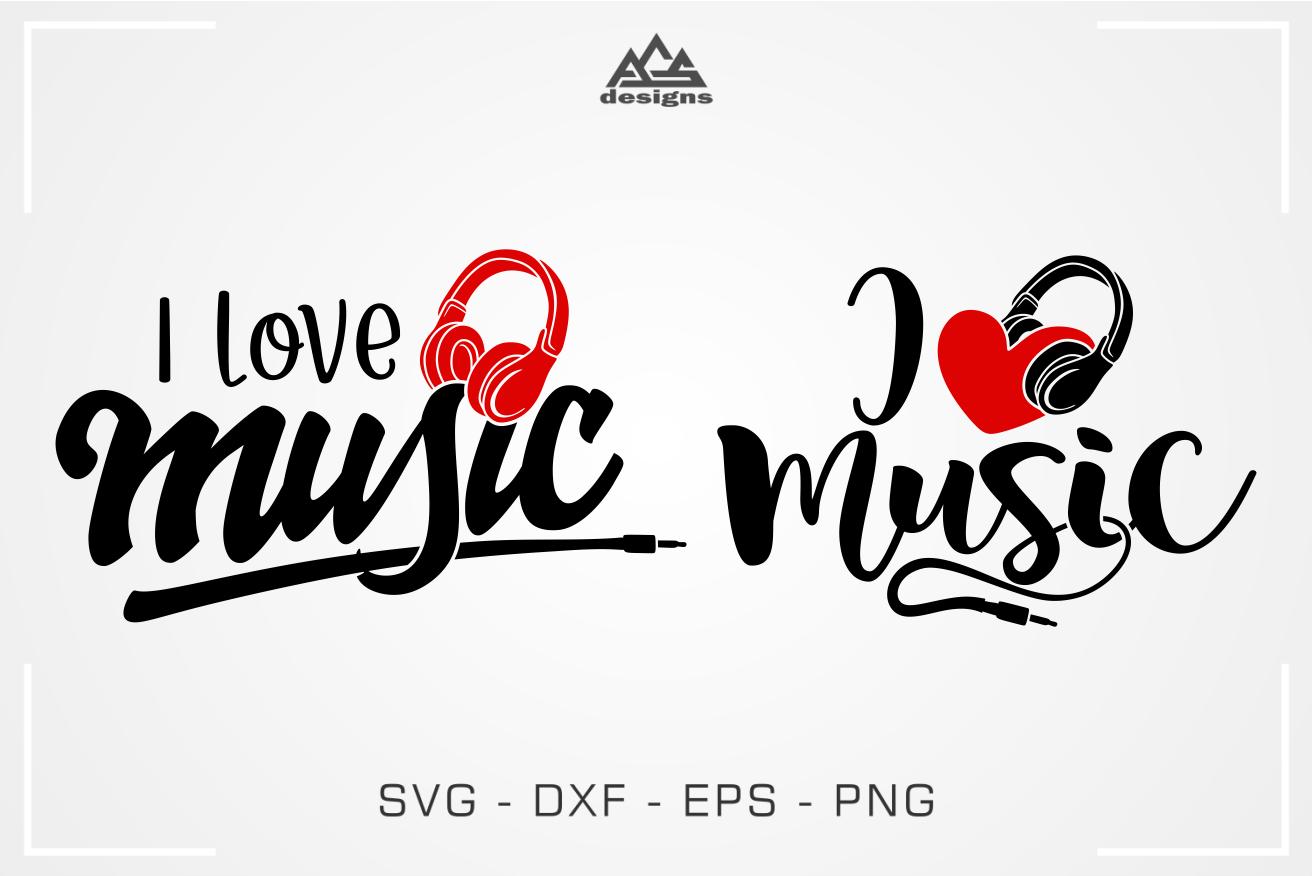 I Love Music Headphone Svg Design By Agsdesign Thehungryjpeg Com