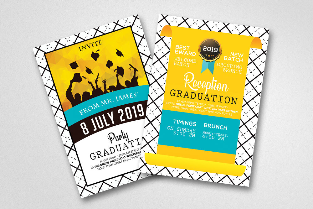Double Sided Graduation Invitation Card By Designhub