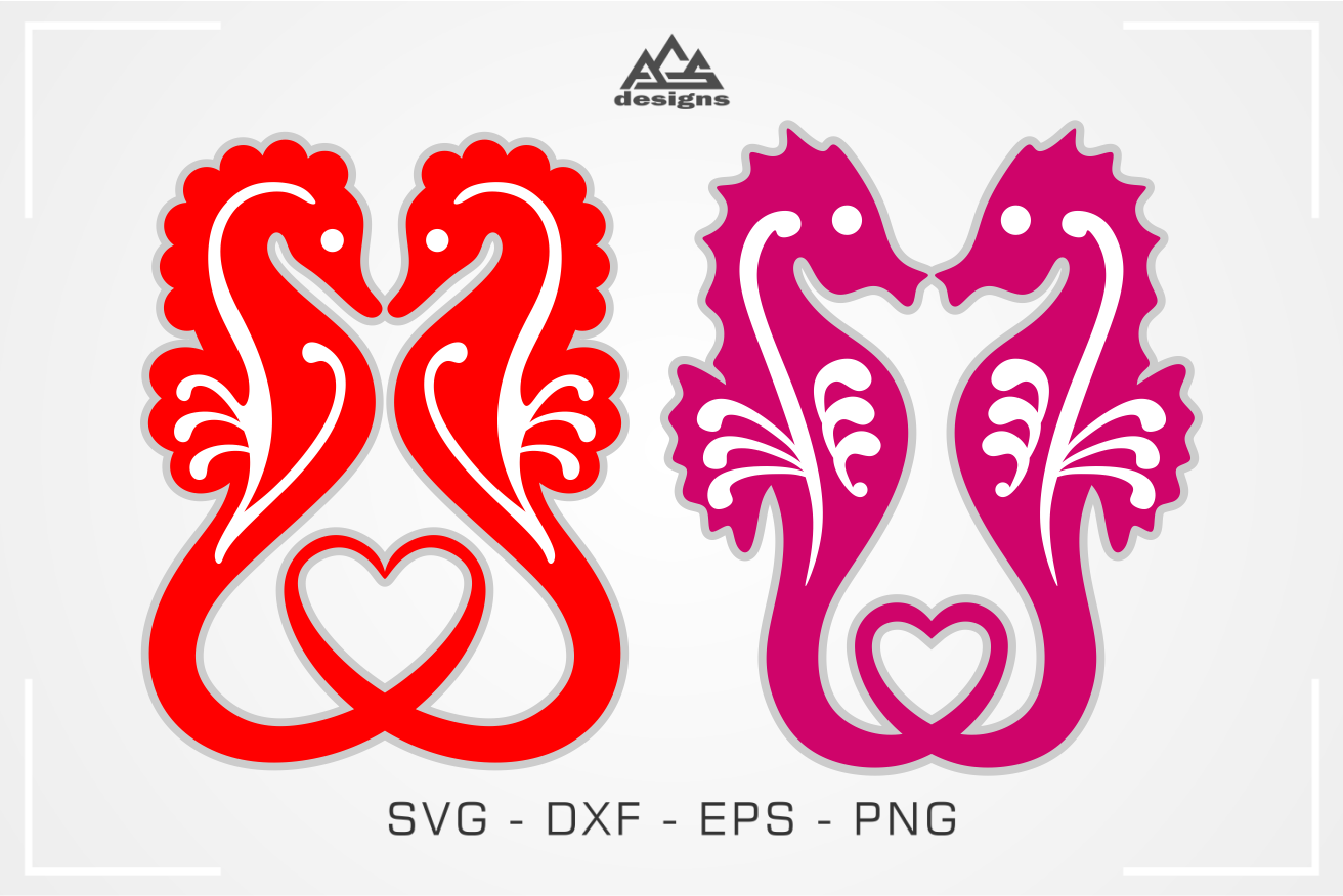 Sea Horse Love Heart Svg Design By Agsdesign Thehungryjpeg Com