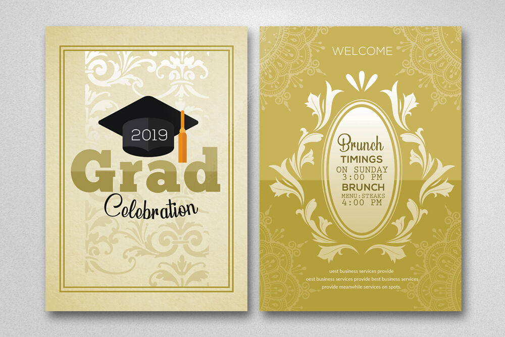 Double Sided Graduation Invitation Card By Designhub