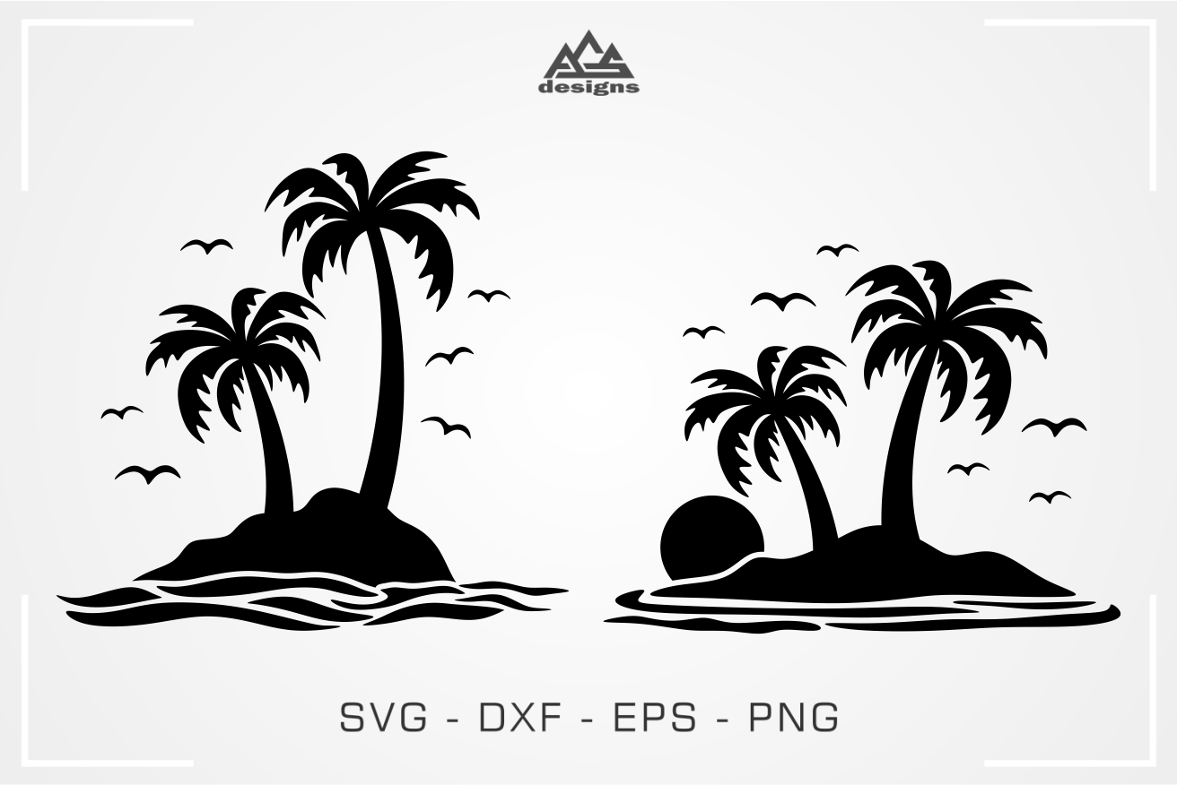 Palm Tree By The Sea Decal Svg Design By Agsdesign Thehungryjpeg Com