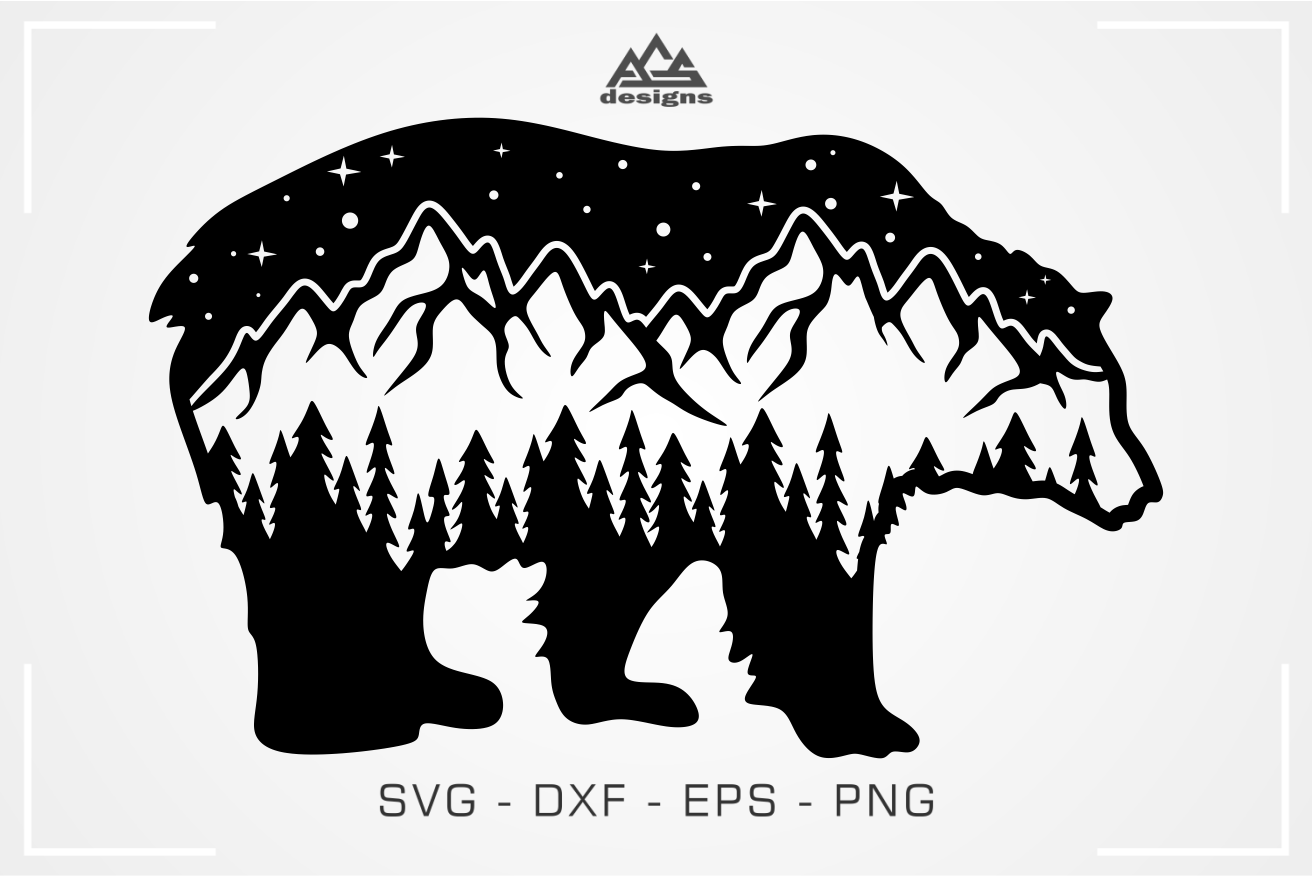 Bear Landscape Mountain Svg Design By Agsdesign Thehungryjpeg Com