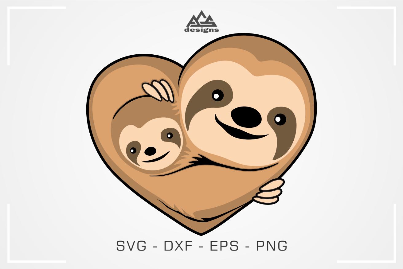 Cute Cuddling Sloth Love Heart Svg Design By Agsdesign
