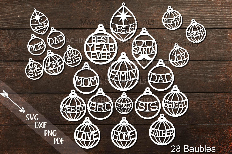 Family Christmas Baubles Svg Pdf Laser Cut Templates Bundle By