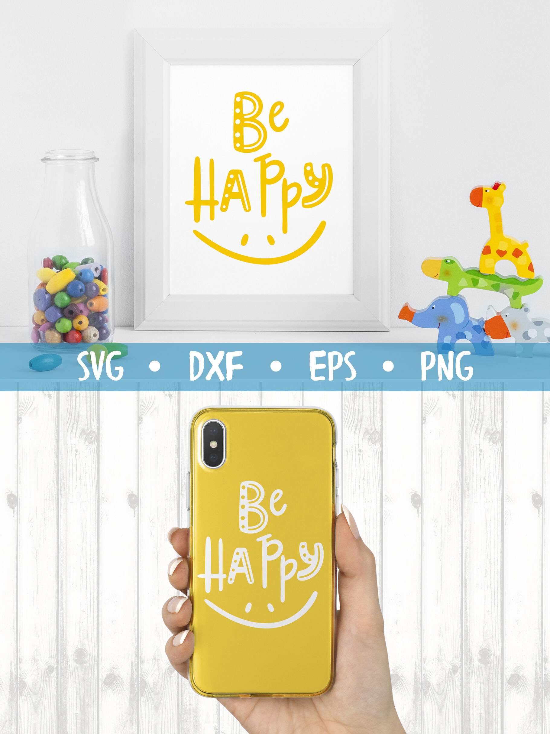 Be Happy Svg Cut File By Milkimil Thehungryjpeg Com