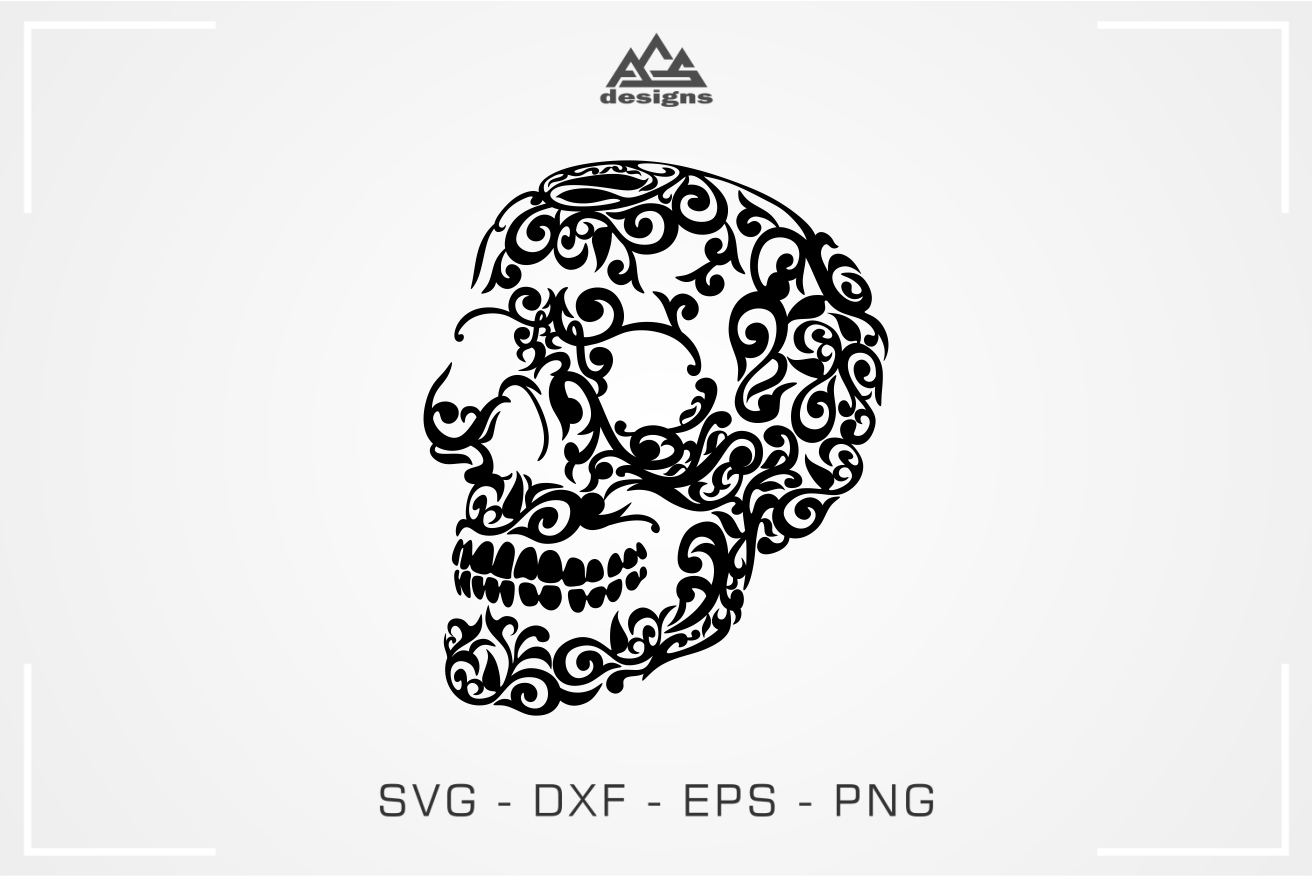 Skull Floral Tribal Svg Design By Agsdesign Thehungryjpeg Com