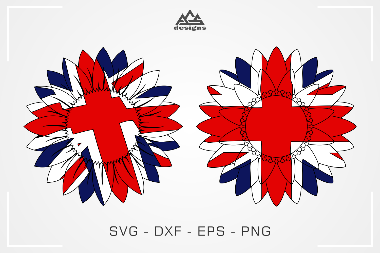 Uk England Flag Sun Flower Svg Design By Agsdesign Thehungryjpeg Com