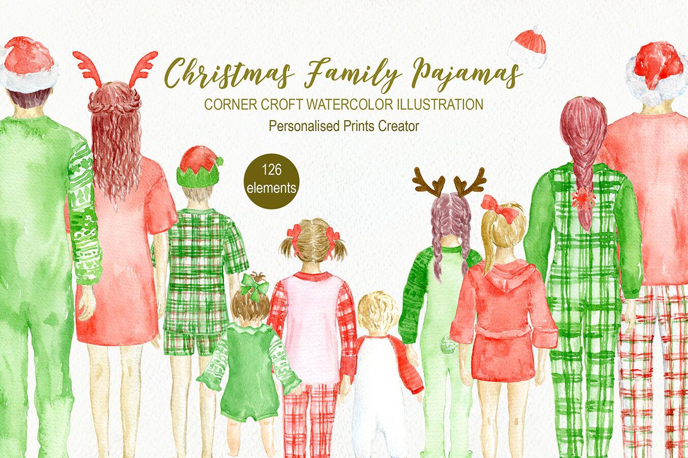 Watercolor Christmas Family Pyjamas Illustration By Cornercroft