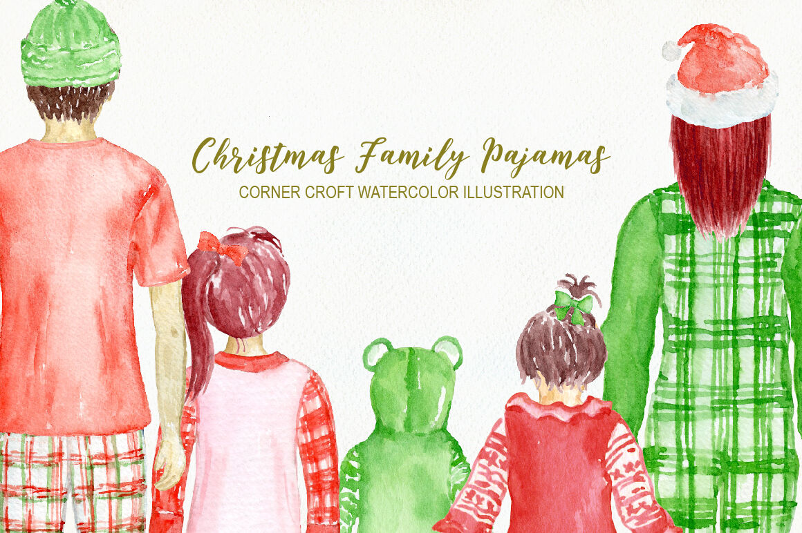 Watercolor Christmas Family Pyjamas Illustration By Cornercroft