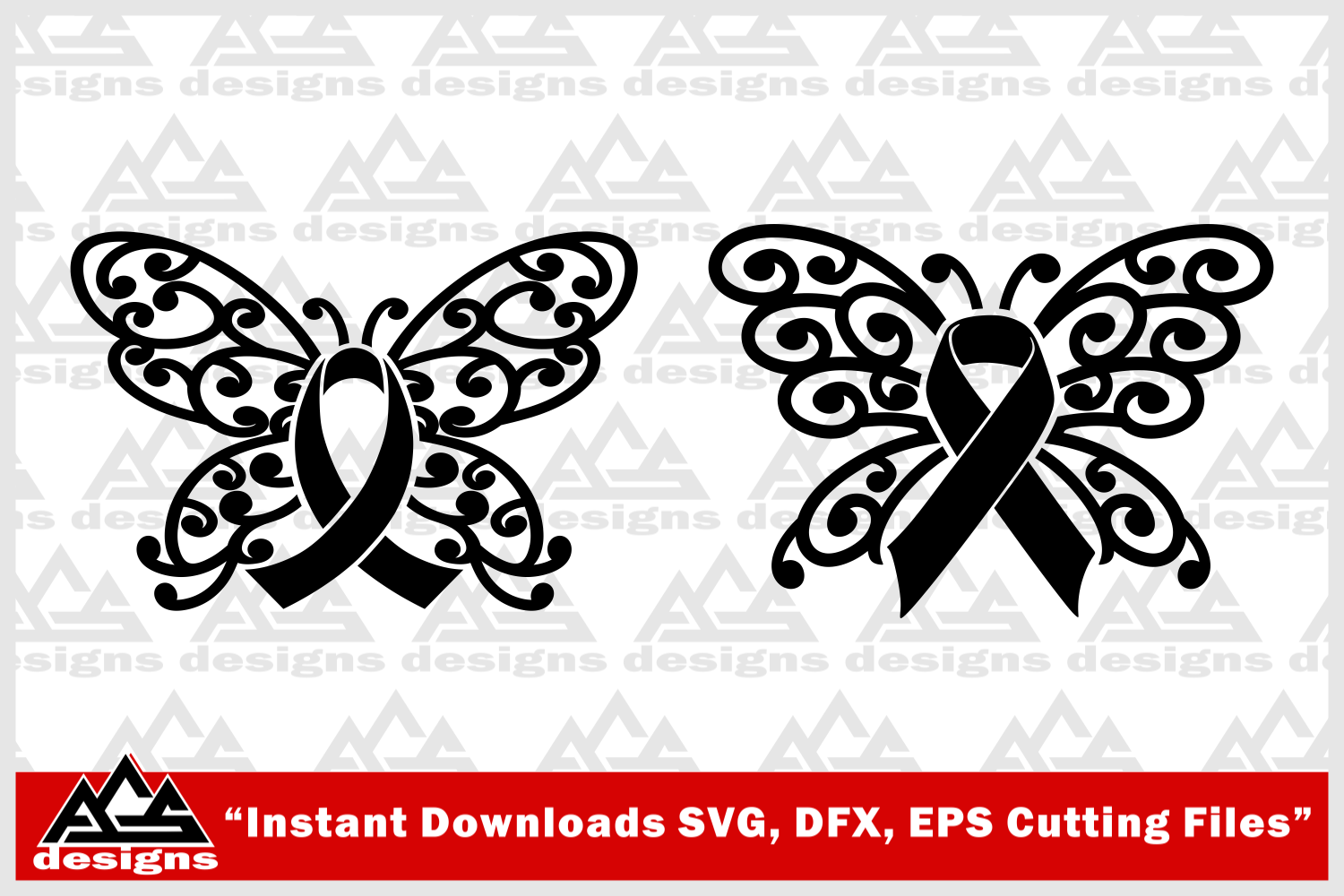 Butterfly Cancer Awareness Ribbon Svg Design By Agsdesign