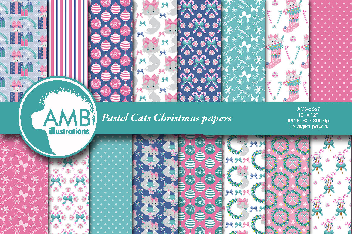 Christmas Pastel Cat Papers Amb 2667 By Ambillustrations
