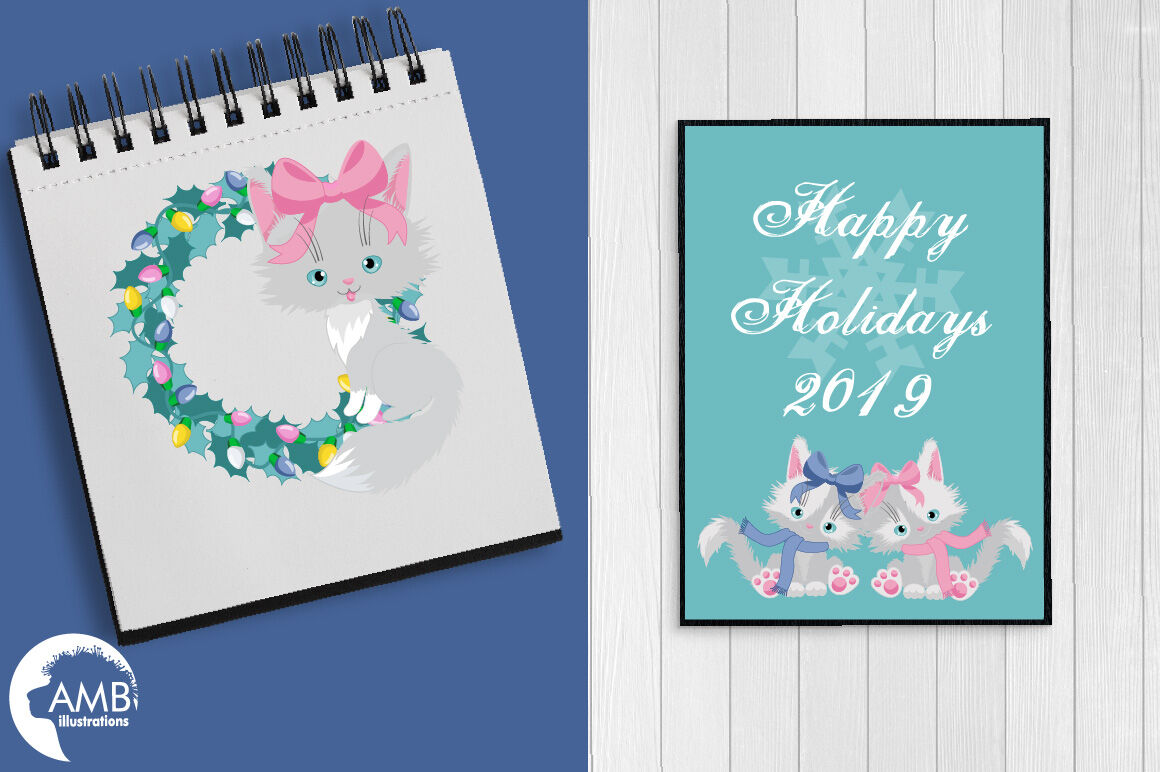 Christmas Cats Pastel Clipart Pack Amb 2666 By Ambillustrations
