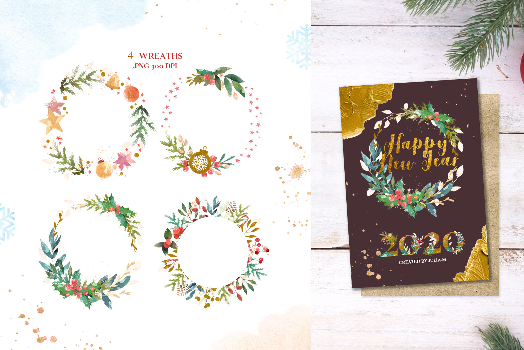 Merry Christmas Watercolor Design Set By Julia M Watercolor