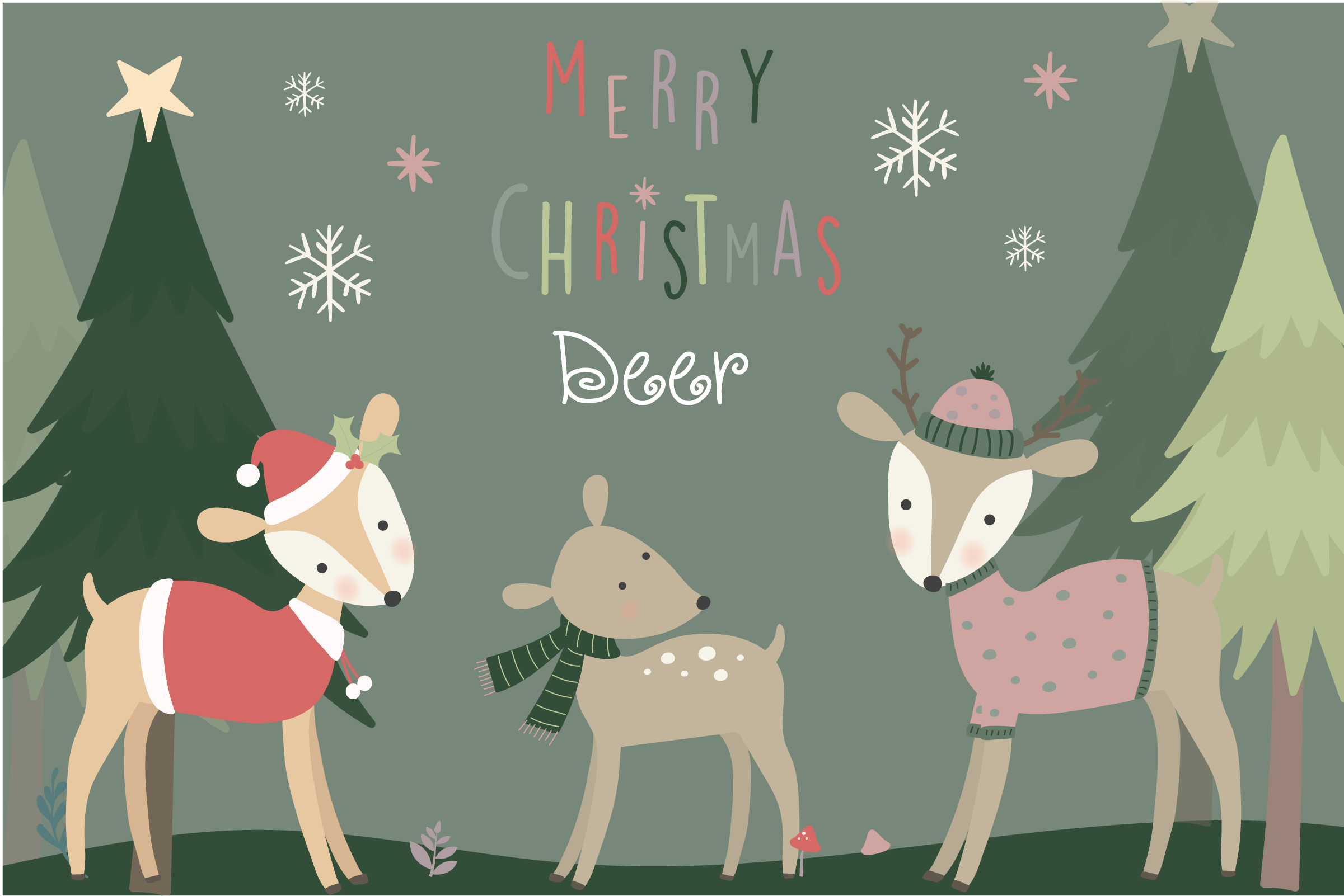 Merry Christmas Deer By Poppymoon Design Thehungryjpeg Com