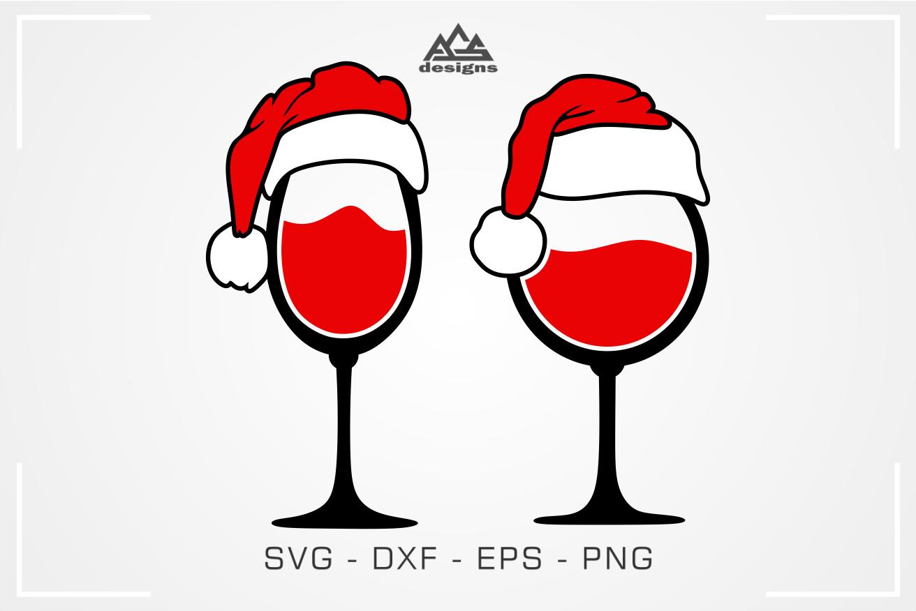 Christmas Santa Wine Glass Svg Cuttable Design By Agsdesign